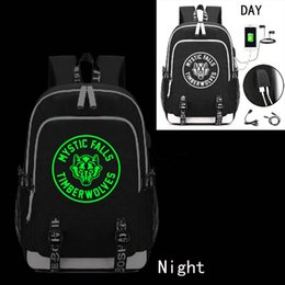 Backpacks For College Men Australia - The Vampire Diaries Backpack with USB Charging Port and Lock &Headphone interface for College Student Work Men & Women