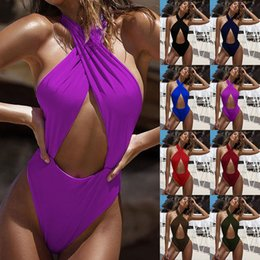 Discount cross bandage swimwear - Ladies Sexy Swimsuit Solid Hollow Out Swimwear Criss Cross Bandage Bathing Suits Ladies Beach Swimsuit Summer One-Piece