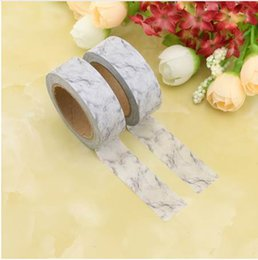 wholesale japanese stationery Canada - Japanese Paper Marble Washi Tape White Paper Masking Tapes Adhesive Tapes Stickers Decorative Stationery Tape 2016