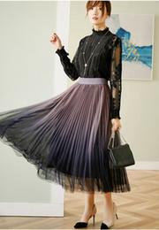 Wholesale high waist skirts resale online - Gradual change color screen female spring new high waist show thin big pendulum medium length pleated fairy half length skirt