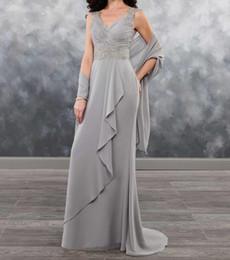 $enCountryForm.capitalKeyWord Australia - Silver Gray Bridesmaid Dresses with Wrap a little mermaid Floor Length Bridesmaid Dresses Pleats Chiffon with Lace Applique