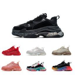Kvinnor Män Sko pappa Casual Skor Crystal Bottom Triple S Fritid Sneakers För Vintage Old Grandpa Trainer Chaussures med Box Storlek 35-45