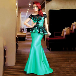 short red lace prom vintage dress Australia - Vintage Green Mermaid Prom Dresses Long Peplum Lace Off The Shoulder Evening Gowns Sleeves Short Satin Zipper Formal Party Dress Women Wear