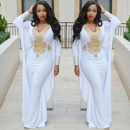 $enCountryForm.capitalKeyWord NZ - White Mermaid Evening Dress With Gold Beaded African Kaftan Dress V Neck Long Sleeve Floor Length Prom Dress Party Wear Plus Size Gowns