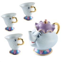 beauty beast painting NZ - Beauty and the beast Teapot Mug Mrs Potts Chip Tea Pot Cup Set Sugar Bowl Pot Gift 18K Gold-plated Painted Ceramic Fast Post