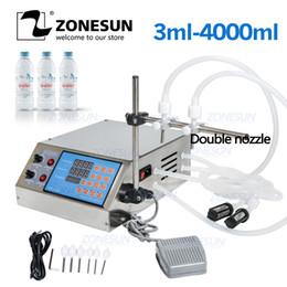 Venta al por mayor de ZONESUN llenado de líquido de la máquina de control digital eléctrico de la bomba de perfume jugo del agua de la botella de aceite esencial de llenado con 2 cabezas