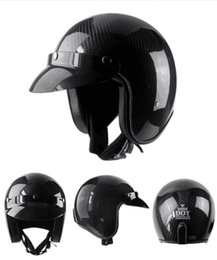 Carbon Fiber Half Helmets Australia - VOSS open face half motorcycle helmet carbon fiber ultralight shell vintage retro moto helmets Matte color casco M L