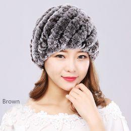 Rabbit Fur Scarves Caps Australia - Knitted Rex Rabbit Fur Hat Hood Ski Cap Russian Hats Knitting Sweater Women Fur Hat Winter Striped Brown Grey Red Black