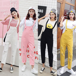 $enCountryForm.capitalKeyWord Australia - Spring Autumn Jean Overalls Ladies Loose Jeans Rompers Women Denim Jumpsuit Casual Hole Black white pink yellow Jumpsuit Pockets MX190726