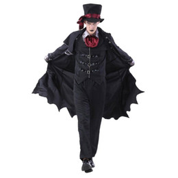 movie vampire costumes Canada - Vampire Costumes Men Boy Vampire Gentleman Black Full Set Shows Party Halloween Carnival Costumes