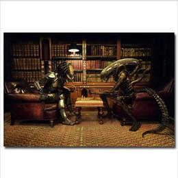 Aliens Vs Predator Figure Australia - Alien vs Predator 3 Play Chess,Home Decor HD Printed Modern Art Painting on Canvas (Unframed Framed)