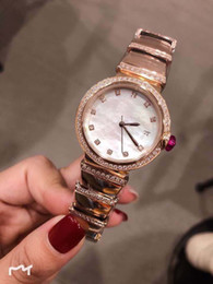 Fashion pearl bracelets online shopping - 33MM Quartz White Dial Womens Watches L Stainless Steel Case Gold Diamond Bezel and Bracelet Mother Of Pearl Dial