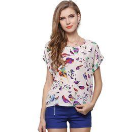 39e99ff9bc Animal Heart Cross Print T-shirt Chiffon Loose Shirt Short Sleeve Shirts  Tops Summer Women Fashion Clothing Drop Shipiing 19 colors