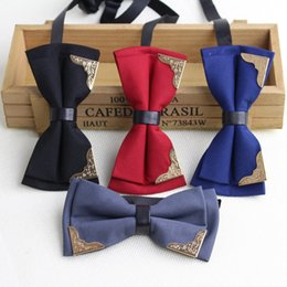$enCountryForm.capitalKeyWord NZ - Solid Fashion Bowties Groom Mens Kingly Plaid Double Deck Cravat For Men Butterfly Bling Male Marriage Wedding Bow