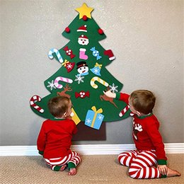 Christmas Gift Sets For Kids Australia - 3ft DIY Felt Christmas Tree Set 26pcs Detachable Ornaments Wall Hanging Toddler Kids Gifts Xmas Gifts for Christmas Decorations