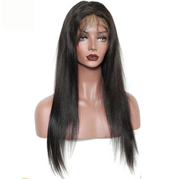 Discount fringe wigs - 100% Brazilian Virgin Hair Full Fringe Wig Human Hair Glueless Lace Front Wigs With Bangs Straight Full Lace Human Hair