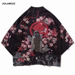 $enCountryForm.capitalKeyWord Canada - Aolamegs Men Shirt Kimono Chinese Style Fish Printed Mens Shirt Harajuku Cotton Open Stitch Fashion Outwear Spring Streetwear