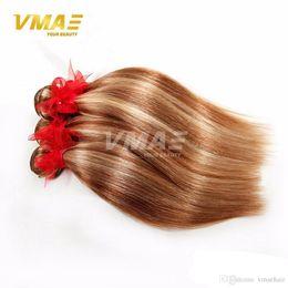 Light Color Mixing Australia - 8A VMAE light brown brazilian virgin human straight hair weaves mix color 100% real human hair weave bundle piano color hair extensions
