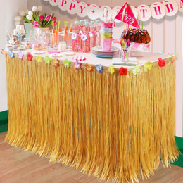 Hawaiian Luau Party Decorations Australia - OurWarm Artificial Hibiscus Grass Table Skirt 275*75cm Hawaiian Tropical Luau Party Tableware Decoration Birthday Party Supplies