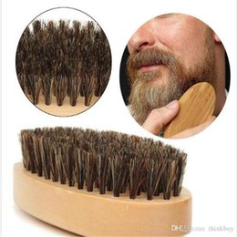 men hair brushes Australia - New Boar Hair Bristle Beard Mustache Brush Military Hard Round Wood Handle Anti-static Peach Comb Hairdressing Tool for Men 0721ayq