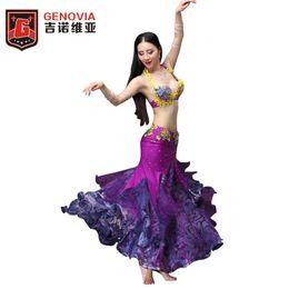 cc5857f2519f Women Performance Belly Dance Costume Beaded Bras + 2 Layers Long Skirt  Carnival Bollywood Girls Skirts (no Belt) Dancewear
