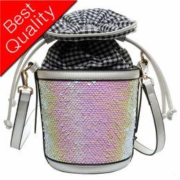 Hollow Fiber Australia - 2019 New Colorful sequins Hollow PU+pvc Material Small Fairy Bag Portable Bucket Bag Casual Wild Single Shoulder Messenger Bag