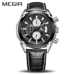 Genuine Military Wrist Watches Australia - Megir Military Watches Men Quartz Chronograph 6 Hands Genuine Leather Male Clock Sports Army Wrist Watch Relogios Masculino