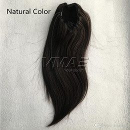 VMAE Brazilian Peruvian Straight 120g Natural Color #1B #4 #6 Horsetail Clip in Drawstring Ponytails Virgin Human Hair Extension on Sale
