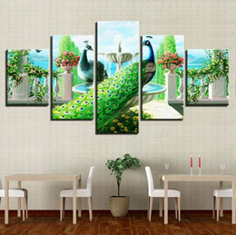 $enCountryForm.capitalKeyWord Australia - 5 Pieces HD Canvas Painting Print Colorful Peacock Modular For Modern Decorative Bedroom Living Room Home Wall Art Decor