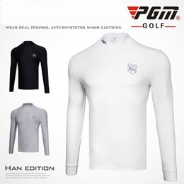 $enCountryForm.capitalKeyWord NZ - PGM Golf Primer Shirt Men's Long Sleeved T-shirt Velvet Tights Spring Sport Clothing For Men 3 Color Black White Grey Size S-XXL