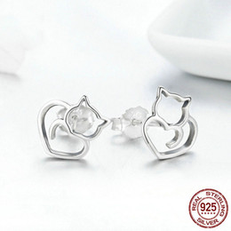 $enCountryForm.capitalKeyWord Australia - Hot Sale Authentic 925 Sterling Silver Cute Cat Small Stud Earrings for Women Beautiful Sterling Silver Wedding Jewelry Accessories