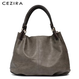 $enCountryForm.capitalKeyWord NZ - Cezira Causal Large Women Shoulder Bag Ladies Tote Bags Work Solid Thread Handbag Female Hobo Pu Leather Girl Crossbody Bags Y19061903