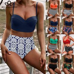 White Rose Stores Australia - Wonder Store 2019 new Two Piece Printed Sexy High Rise Bra Set For Women Split Bikini Female Beach Bathing Wearing Plus Size