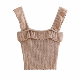 $enCountryForm.capitalKeyWord UK - Women Fashion Solid Knitted Tank Tops Camis 2019 Summer Ruffles Sleeveless Elastic Bust Ladies Sexy Slim Tops Female Clothes Y19042801