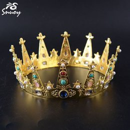 Chinese  Snuoy King Crown and Tiara For Men Golden Colorful Crystals Birthday Diadem For Party Hair Accessories Jewelry for Birth Date C18112001 manufacturers