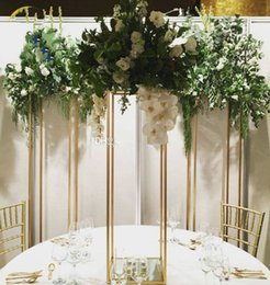 Gold cakes stands online shopping - Flower Stand cm Tall Wedding candelabra metal Crystal Table Centerpiece Square Table flower stand Wedding Centerpiece Wedding Decoration