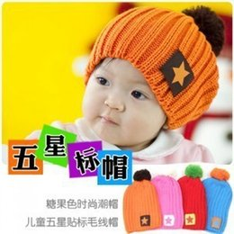 Crochet Baby Star Australia - Spring And Winter Korean Star Labeling Wool Cap Baby Hat Children's Winter Hat