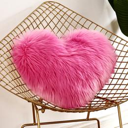 $enCountryForm.capitalKeyWord Australia - Throw Pillow Car Faux Fur Washable Covers Pillowslip Case Cushion Sofa Decor Heart Shaped Fluffy Home Pillowcase Soft Plush