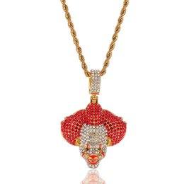 $enCountryForm.capitalKeyWord UK - Wholesale Cheap Dripping Oil Clown Pendant Necklace Iced Out Micro Paved Rhinestone Men Hip Hop Jewelry