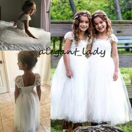 $enCountryForm.capitalKeyWord NZ - Ivory Lace Cap Sleeve Flower Girls Dresses 2019 Square Tutu Puffy princess First Communion 1st Birthday Outfit Holly Girls Dress