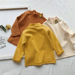 $enCountryForm.capitalKeyWord NZ - WLG winter boys girls casual turtleneck t shirts kids smile pattern long sleeve warm t-shirt baby all match thick tops children