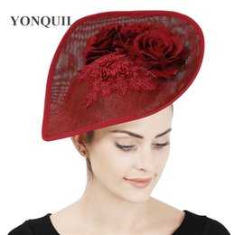 vintage headpieces hats UK - Marron vintage party flower hat women wedding fasinator with lace show race headpiece with hair clip gorgeous chic millinery