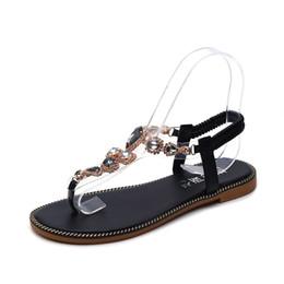d3ef69aeeee4 Woman Sandals Shoes 2019 Summer Rhinestones Bohemia Flat Sandals Ladies  Crystal Flat Roman Beach Flip Flops Q-225