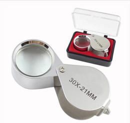 Venta al por mayor de Mini 30x21 mm Joyeros Lupas oculares Joyas Lupas de diamante Lupa Lupa portátil ingeniosa Lupa de color plateado