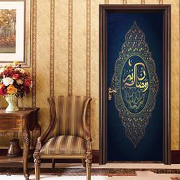 $enCountryForm.capitalKeyWord Australia - 2Pcs Set New Arrival Islamic Patterns Door Pvc Poster Decal Window Vinyl Sticker Muslim Self-Adhesive Wallpaper Bedroom Home Decor