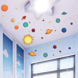 Wall Stickers For Kids Australia - Besegad 1 Sheet Solar System Planets Removable PVC Wall Window Mirror Decoration Decals Stickers for Kids Room Home Bedroom