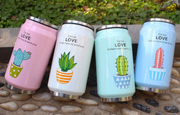 Mug Cup Print Australia - Hot 350ml cactus cans mug stainless steel with straw cartoon printing kettle student portable cup travel sports car bottle free choose W1903