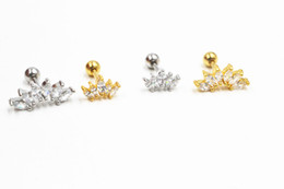 $enCountryForm.capitalKeyWord NZ - Lot50pcs Body Jewelry- CZ Gems Ear Studs Earring Stainless Steel Helix Bar Upper Earring Ear Piercing Diath Cartilage new Shine