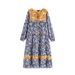 $enCountryForm.capitalKeyWord UK - Floral Women Pattern Maxi Dress Bow Tie Collar Long Sleeve Straight Female Chic Long Dresses Vestidos Qb357