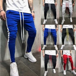 $enCountryForm.capitalKeyWord NZ - Men Casual Gym Slim Sports Fit Trousers Tracksuit Bottoms Skinny Joggers Sweat Drawstring Track Side Stripe Pants